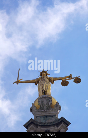 Statue of Lady Justice with sword, scales and blindfold, Old Bailey, Central Criminal Court, London, England, UK, - Stock Photo