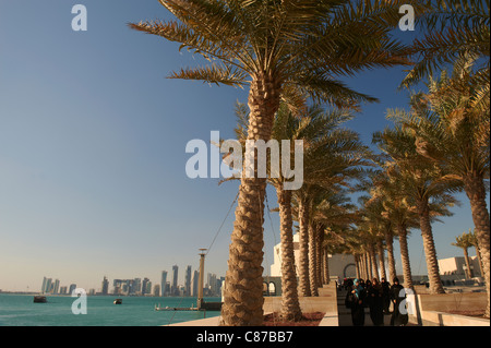 islamic museum art city center skyline doha qatar - Stock Photo