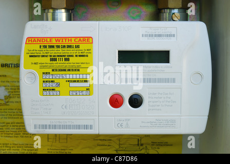 Close-up of a modern domestic 'smart' gas meter. UK, 2011. - Stock Photo