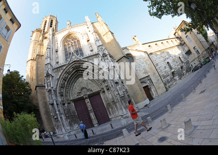 Aix Cathedral (Cathédrale Saint-Sauveur d'Aix) in Aix-en-Provence, France - Stock Photo