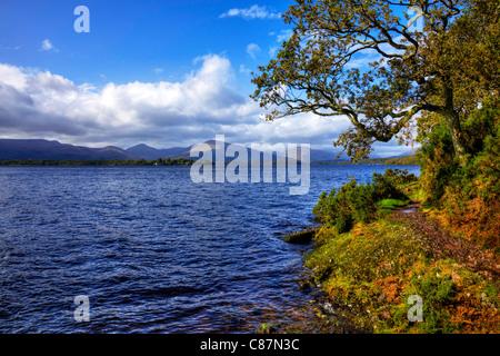 Loch Lomond view of lake, Scotland, Ben Lomond in background - Stock Photo