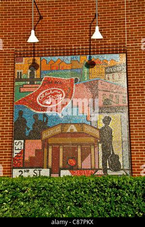 'History of Bricktown' mosaic murals by Susan Morrison, on facade of the AT&T Bricktown Ballpark, Oklahoma City, - Stock Photo