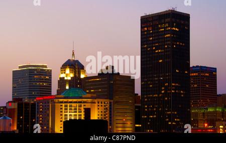 Downtown city center skyline of Oklahoma City, Oklahoma, USA - Stock Photo