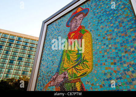 'Will', a 4-by-7 ft mosaic mural of Will Rogers by Linda Allen in Williams Center Green in downtown Tulsa, Oklahoma, - Stock Photo