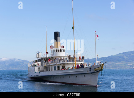 Lake Geneva paddle steamer La Suisse - Stock Photo