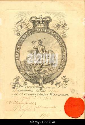 Ticket No 198 for the Garter Installation Ceremony - Stock Photo