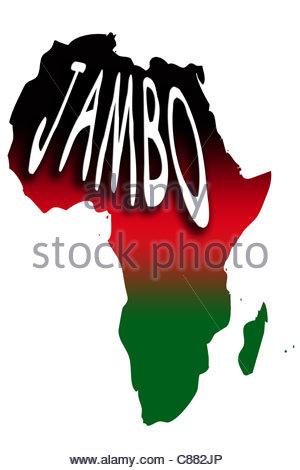 Digital illustration - Jambo (Hallo - Swahili) map of Africa and Kenyan flag colours. - Stock Photo