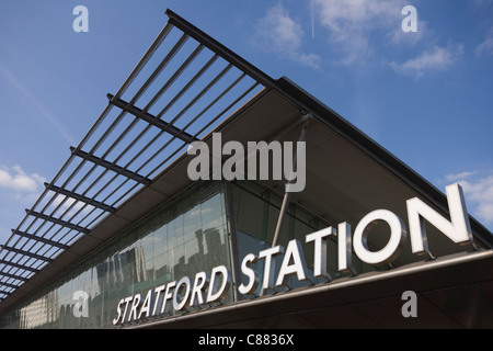 Architecture of Stratford station in east London, the rail transport hub for the 2012 Olympics. - Stock Photo