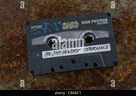 Audio Cassette Tape of Jimi Hendrix Album 'The Jimi Hendrix Experience' - Stock Photo