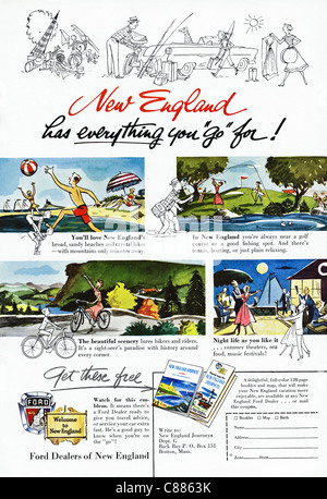 American magazine advertisement circa 1954 advertising vacations in NEW ENGLAND - Stock Photo