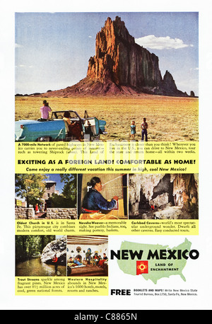 American magazine advertisement circa 1954 advertising vacations in NEW MEXICO - Stock Photo