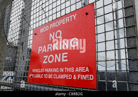 No parking zone MOD property sign - Stock Photo