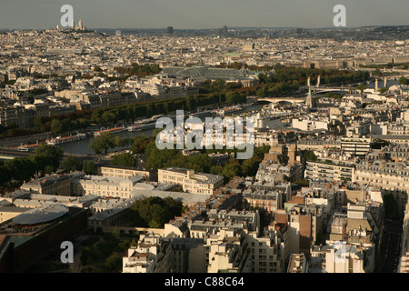 Panorama of Paris from the Eiffel Tower in Paris, France. - Stock Photo