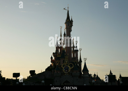 Sleeping Beauty Castle in Disneyland Paris, France. - Stock Photo