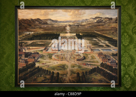 View of Versailles from the Avenue de Paris by Pierre Patel (1662) in the Palace of Versailles, France. - Stock Photo