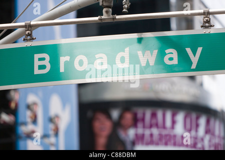 A Broadway street sign at 42nd Street in Times Square in New York City. - Stock Photo