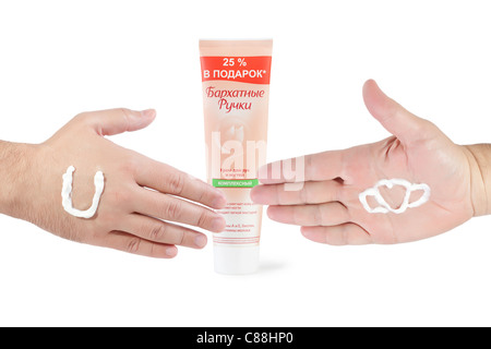 hand cream and hands ready to handshake on white background - Stock Photo