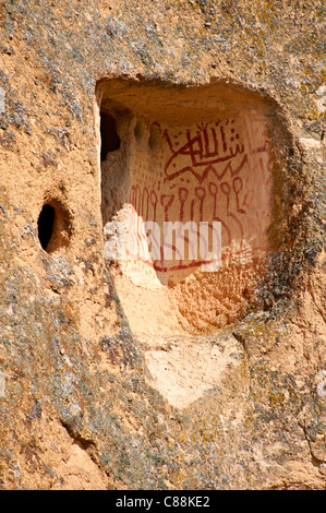 Traditional decorations outside the rock houses of Uchisar, Cappadocia Turkey - Stock Photo
