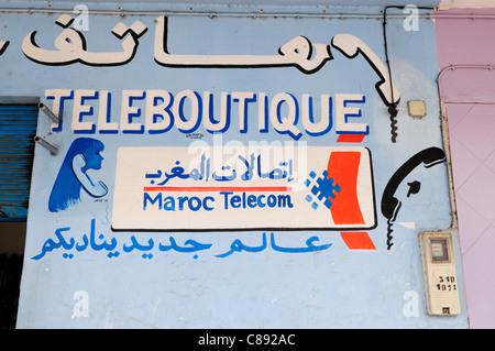Teleboutique Sign, Agadir, Morocco - Stock Photo