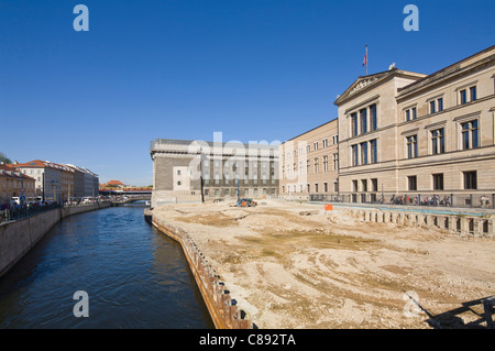 'Neues Museum' and Pergamonmuseum at 'Museum Island' with construction site Berlin Germany Europe - Stock Photo