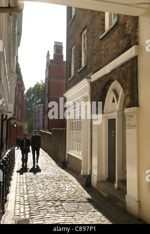 Middle Temple Lane Inns of Court. London UK. From the Gate House looking south toards the Embankment. - Stock Photo