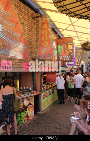Thai and Mexican food stalls Stables Market Camden London July 2010 - Stock Photo
