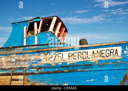 Derelict fishing boat Santa Luzia, Tavira, Algarve, Portugal - Stock Photo