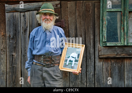Portrait of an old man in Moldova, Romania - Stock Photo