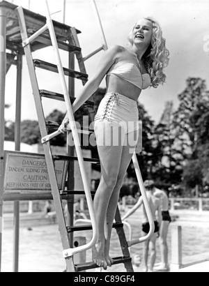 PATTI MORGAN (CHAMOUN) 1928-2001 - Australian-born fashion model and film actress at Roehampton Lido, London, in - Stock Photo