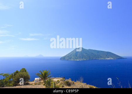 Aeolian islands visible from Lipari in Italy - Stock Photo