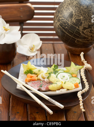 Thai salad with Touquet Ratte potatoes - Stock Photo