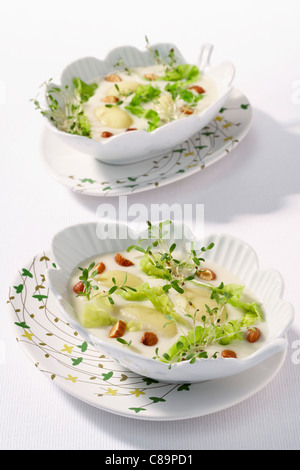 Touquet Ratte potatoes with almond milk - Stock Photo
