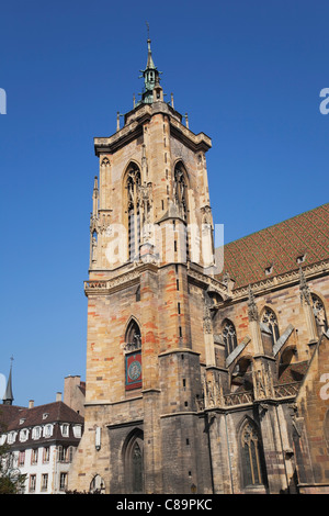 France, Alsace, Colmar, Haut-Rhin, Alsatian Wine Route, View of St. Martin church - Stock Photo