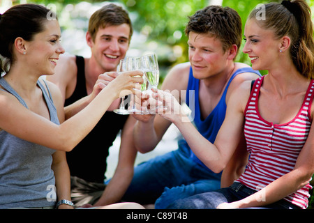 Italy, Tuscany, Friends clinking champagne glasses at picnic - Stock Photo