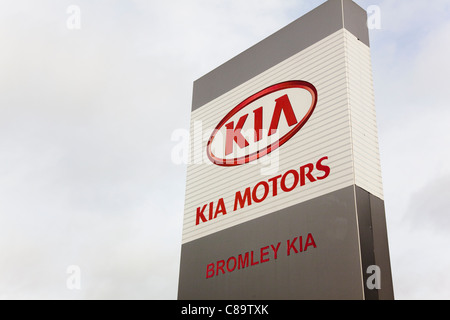 Sign, Kia Motors Main Dealer, Bromley, Kent, UK - Stock Photo
