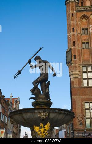 Neptune's Fountain at Dlugi Targ square main town Gdansk Pomerania northern Poland Europe - Stock Photo