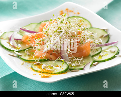 Fresh salad with smoked salmon and alfafa - Stock Photo
