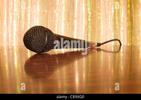 Microphone on a table in a working mens club in the north east of England. UK. - Stock Photo