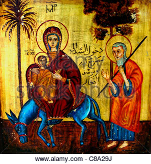 Icon showing the travels of the Holy Family in Egypt with Mary, Joseph and the boy Jesus - Stock Photo