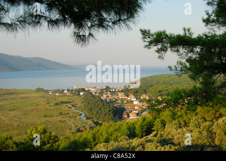 AKYAKA, TURKEY. An elevated early-morning view of the village, Azmak river, Gokova conservation area and Gulf of - Stock Photo