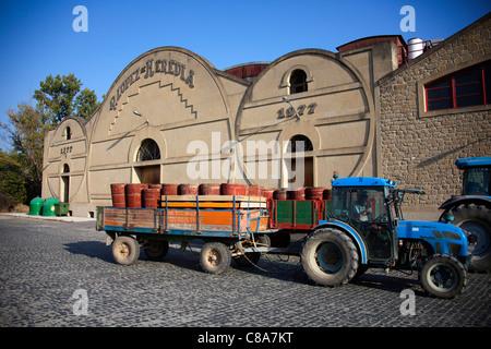 Lopez de Heredia Tractor with grape casks at Vina Tondonia Bodega  cellars, in Haro La Rioja Spain 110564_Spain - Stock Photo