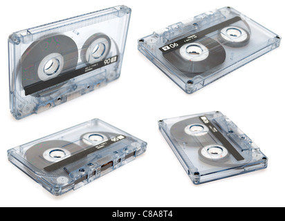 Collection of Retro Audio Cassette Tapes on White Background - Stock Photo