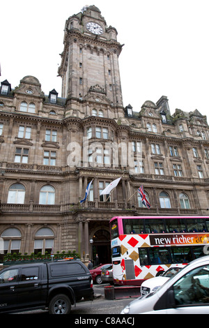 The Balmoral luxury Rocco Forte Hotels' five star accommodation in Edinburgh, Scotland, flags flying & clock tower - Stock Photo