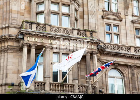The Balmoral luxury Rocco Forte Hotels' five star accommodation in Edinburgh, Scotland, flags flying - Stock Photo