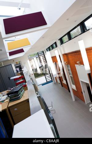 Royal Holloway University Moore Building open plan atrium - Stock Photo