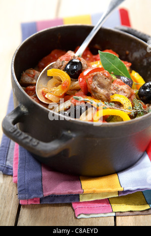 Pork,pepper and olive stew - Stock Photo