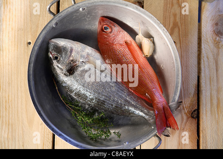 Raw sea bream and red mullet - Stock Photo
