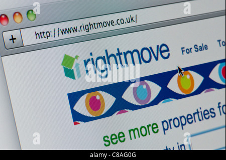Close up of the Rightmove logo as seen on its website. (Editorial use only: print, TV, e-book and editorial website). - Stock Photo