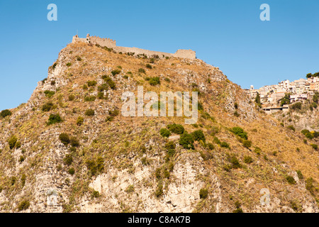 Saracens Castle above the town of Taormina, Sicily, Italy - Stock Photo