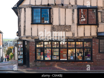 Historic 15th Century antiquarian book shop in Lewes high street East Sussex UK - Stock Photo